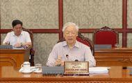 Tổng Bí thư Nguyễn Phú Trọng chủ trì họp Bộ Chính trị để cho ý kiến về tình hình phòng, chống dịch Covid-19